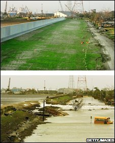 Rebuilt floodwall (top) compared with floodwall after Katrina