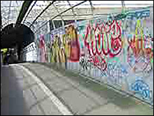 Graffiti on railway footbridge