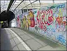 Graffiti on railway footbridge