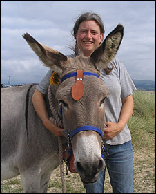 Del Boy and proud owner Louise Peters: Pic The Donkey Sanctuary