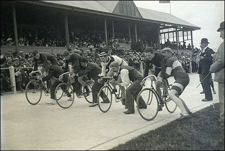 Riders at the Carmarthen Velodrome in the early 1900s