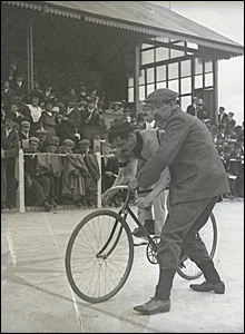 Rider at the Carmarthen Velodrome in the early 1900s