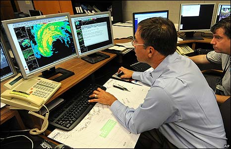 Weather specialists at National Hurricane Center