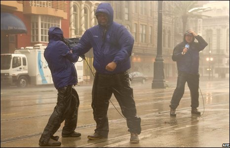 Crew from weather channel reported from  French Quarter in New Orleans