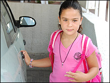Tal Rubin, 7, on her way to school in Sderot