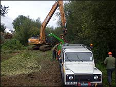 Flood clearance work at Daniel's Brook