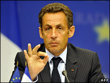Nicolas Sarkozy announces the EU's decision (1 September 2008)