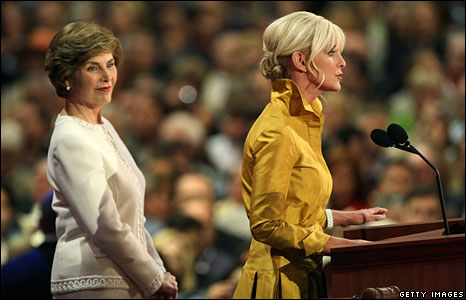 Laura Bush and Cindy McCain at the opening of the Republican convention, St Paul, 1 Sept