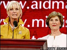 Cindy McCain and Laura Bush in St Paul, 1 Sept