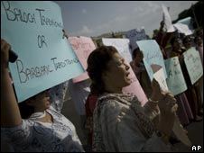 A protest in Lahore on 1 September 2008 against the killing of five women in Balochistan