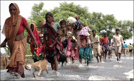 Flood victims in Saharsa in Bihar