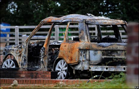 Burnt out Range Rover