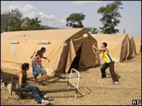 Палаточный городок возле Гори (снимок 31 августа 2008)