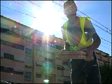 A labourer at work on the outskirts of Madrid