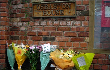 Floral tributes at Osbaston House