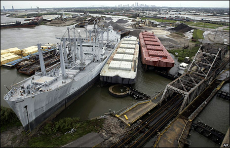 Ships and barges that broke moorings and ran aground as a result of Hurricane Gustav clutter the Industrial Canal in New Orleans