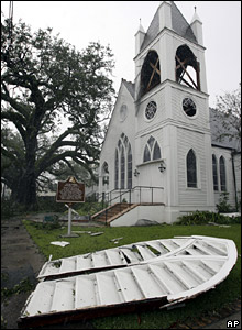St Matthews Episcopal Church after Hurricane Gustav stormed through Houma, Louisiana