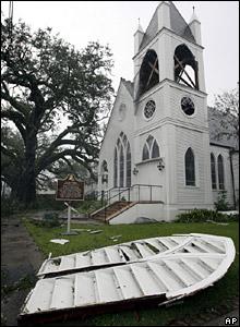 St Matthews Episcopal Church after Hurricane Gustav stormed through Houma, Louisiana