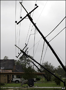 Downed power lines in Raceland, Louisiana