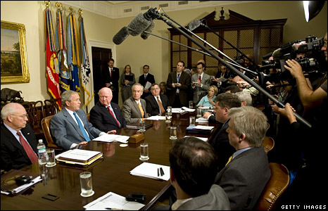President George W Bush speaks to the media about Hurricane Gustav at the White House