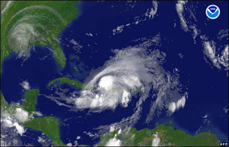 NOAA satellite image shows Hurricane Hanna located southeast of Nassau and Hurricane Gustav over Louisiana