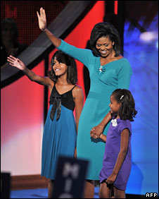 Michelle Obama with daughters Malia (left) and Sasha in Denver, 25 Aug 2008