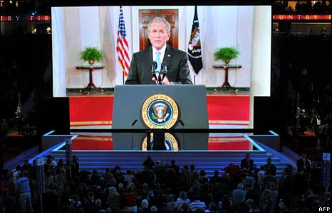 President George W Bush speaks to delegates of the convention