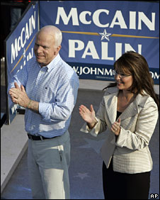 John McCain and Sarah Palin appear at a rally in Missouri, 31 Aug