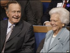 President George HW Bush and former First Lady Barbara Bush at the Republcian Convetnion on 2 Sep