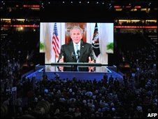 President George W Bush addresses the convention by video-link, 2 Sept