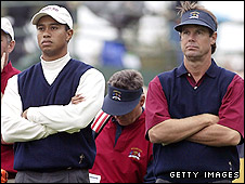Tiger Woods and Paul Azinger during the 2002 Ryder Cup