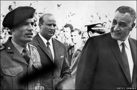 Colonel Moammar Gaddafi and Egyptian President Gamal Abdul Nasser in Morrocco, 1969