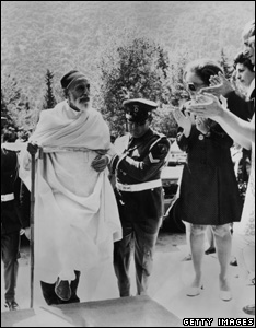 The deposed King Idris I of Libya (1890 - 1983) receives a warm welcome upon his yearly visit to Kamena Vourla in Greece, 1969
