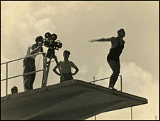 Scene from the diving pool at the Berlin Olympics