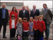Staff, councillors and pupils at Acharacle School site. Pic Highland Council