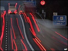 Autobahn at night, file image