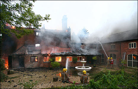 Firefighters fight blaze