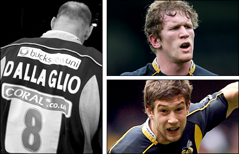 (clockwise) Lawrence Dallaglio, Tom Rees and Dominic Waldouck