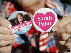 Sarah Palin buttons for sale at the Republican National Convention