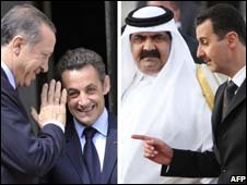 Turkish PM Tayyip Erdogan with French President Nicolas Sarkozy (R) 13 July 2008 and Qatar Emir Sheikh Hamad bin Khalifa al-Thani  with Syrian President Bashar al-Assad on 28 March 2008