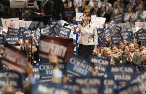 Sarah Palin at the Republican National Convention in St Paul on 3 September 2008