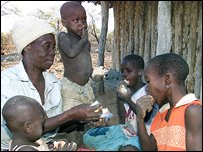 Zimbabwean Orphans share a meal