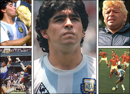 Clockwise, from top left: Maradona wins the 1986 World Cup; posing before a game; at a drug rehabilitation centre in 2000; taking on Belgium in 1982; and the 'Hand of God' goal in 1986 against England