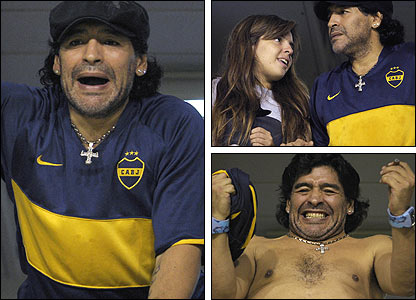 Diego Maradona at a Boca game with (top right) his daughter Dalma