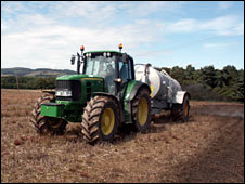 Tractor spreading fertiliser: Photo Greenfinch