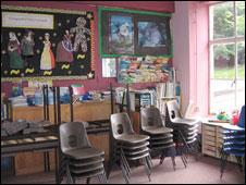 A classroom at Ysbyty Ystwyth school