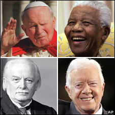 Pope John Paul II, Nelson Mandela, Kimmy Carter and David Lloyd George