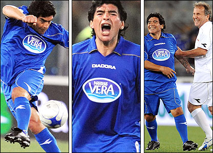 Diego Maradona in action in a charity match in May and with Brazilian legend Zico, right