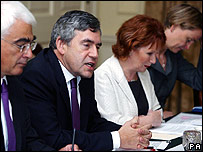 Prime minister Gordon Brown, Chancellor Alistair Darling, Communities Secretary, Hazel Blears and Chief Secretary to the treasury Yvette Cooper (left to right) at a meeting to discuss the housing situation