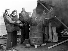 Dock workers at Felixstowe in 1979